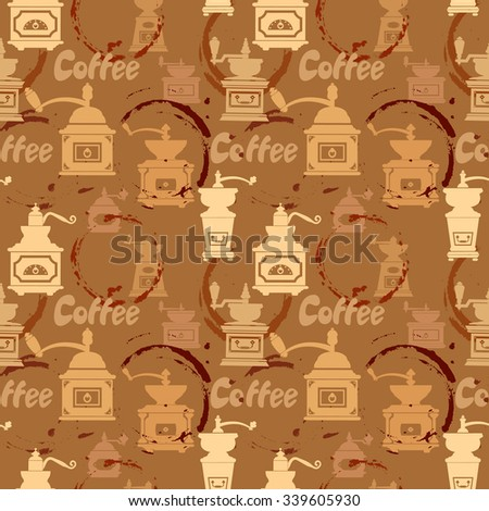 Seamless pattern with grinder, coffee stain, calligraphic text COFFEE. Background design for cafe or restaurant menu. Raster version - stock photo