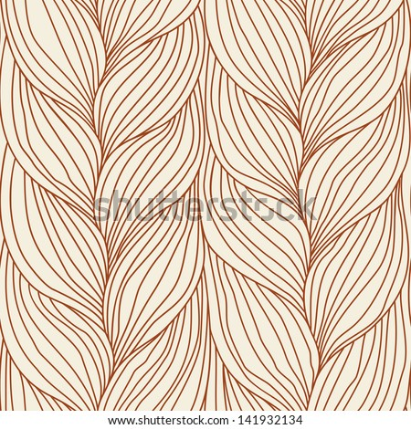 Seamless pattern with hairstyle of brown plait. Abstract decorative simple illustration of interweaving of braids. Ornamental background in  form of knitted fabric. Stylized textured yarn close-up - stock photo