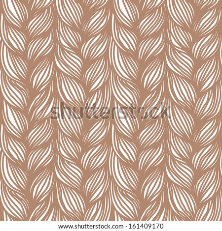 Seamless pattern with hairstyle of brown plaits. Abstract illustration of interweaving of braids. Decorative textured yarn close-up. Ornamental simple background in the shape of knitted fabric - stock photo