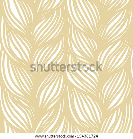 Seamless pattern with hairstyle of light brown plaits. Abstract illustration of interweaving of braids. Stylized textured yarn close-up. Ornamental background in the shape of a knitted fabric - stock photo