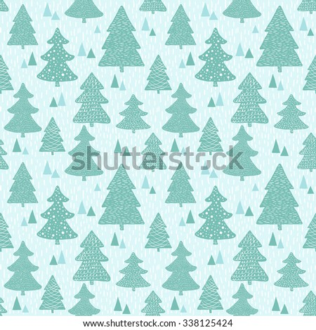 Seamless pattern with hand drawn christmas trees. Raster version - stock photo