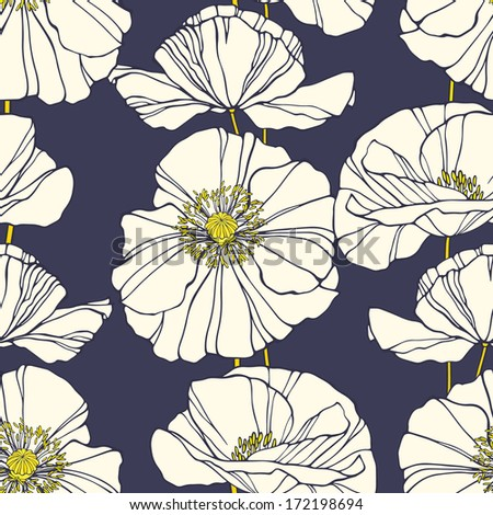 Seamless pattern with hand drawn decorative poppies - stock photo