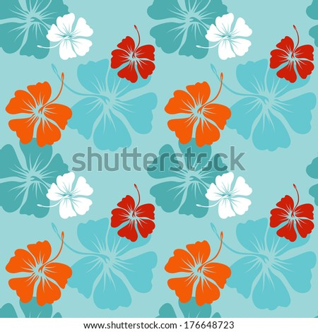 seamless pattern with hand drawn hibiscus flowers on the blue background (raster copy of ID 135100829)