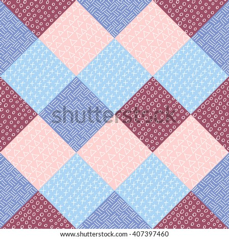 Seamless pattern with hand drawn hipster elements in colors of the year: serenity and rose quartz. Fashion background. Raster version - stock photo