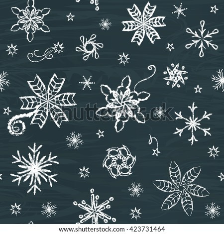 Seamless pattern with hand-drawn snowflakes on chalkboard - stock photo