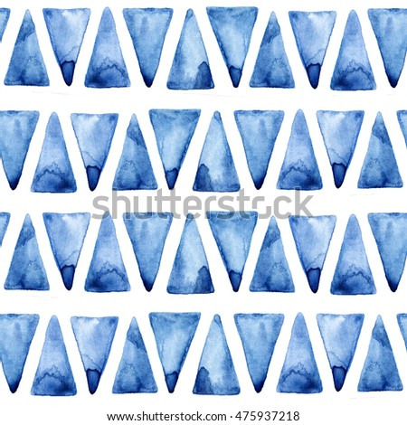 Seamless pattern with hand drawn watercolor blue triangles.Seamless pattern can be used for wallpaper, pattern fills, web page background, surface textures