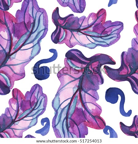 Seamless pattern with hand drawn watercolor leaves on white background in neon rose and blue colors.