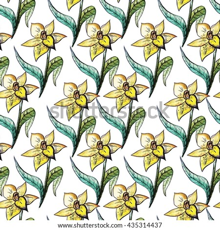 Seamless pattern with hand drawn watercolor lily on white background, Floral texture for your design.