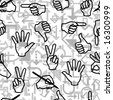Seamless pattern with hand gestures and arrow signs. Vector version is in my portfolio - stock photo