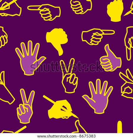 Seamless pattern with hand gestures. Vector version - in my portfolio