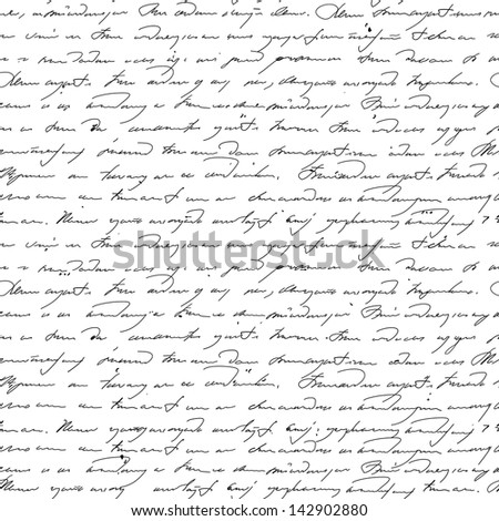 Seamless pattern with handwriting text. Text unreadable.