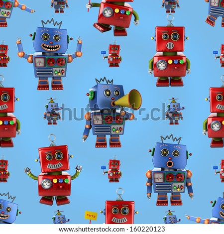 Seamless pattern with happy vintage toy robots over light blue background
