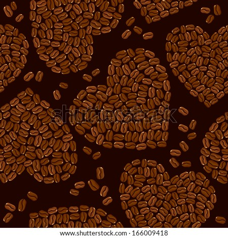 Seamless pattern with Heart shapes are made of coffee beans. Background for restaurant or cafe menu design. Raster version - stock photo