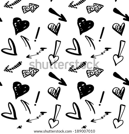 Seamless Pattern with Hearts and Arrows in Black and White. Monochrome. Endless Print Silhouette Texture. Hand Drawing. Cartoon. Scribble. Doodle Style - raster version - stock photo