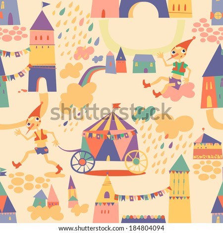 Seamless pattern with houses for children's background. Raster version. Seamless pattern can be used for wallpaper, pattern fills, web page background, surface textures - stock photo