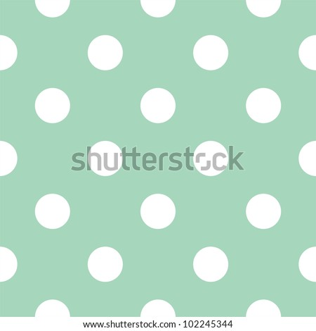Seamless pattern with huge white polka dots on a retro vintage mint green background. For cards, invitations, wedding or baby shower albums, backgrounds, arts and scrapbooks. - stock photo