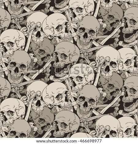 Seamless pattern with human skulls and bones illustration. Fabric design. JPG only