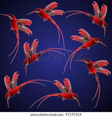 Seamless pattern with hummingbird in chinese style - stock photo