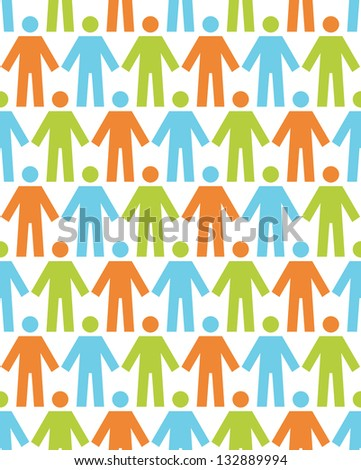 Seamless pattern with icons of people figure. White background with color silhouettes of persons. Abstract ornamental geometric  illustration with concept of team, humanity, multicultural society
