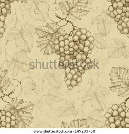 Seamless pattern with illustration of grapes