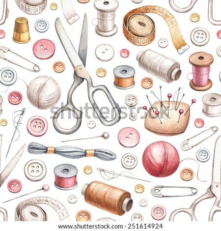 Seamless pattern with illustrations of sewing tools - stock photo