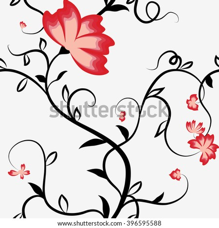 Seamless pattern with intertwining flowers bindweed. Black stems and red flowers on a white background. Rasterized version. - stock photo