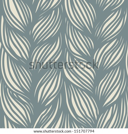 Seamless pattern with interweaving of gray braids. Ornamental simple background in the form of hairstyle in plaits. Abstract decorative illustration with stylized texture of a knitted fabric  - stock photo