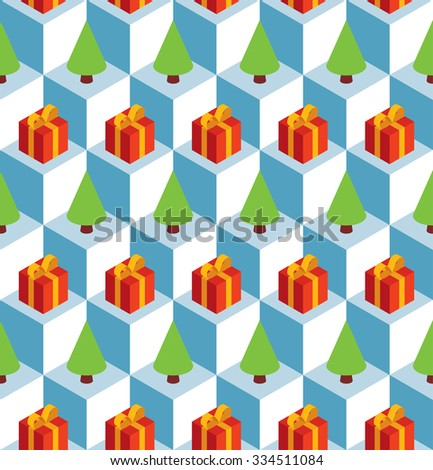 Seamless pattern with isometric white cubes, red gift boxes and green Christmas trees. - stock photo