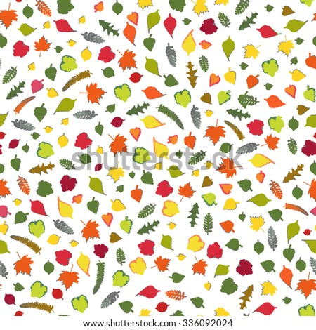 Seamless pattern with leaf. Seamless background with colorful autumn leaves. Raster version - stock photo