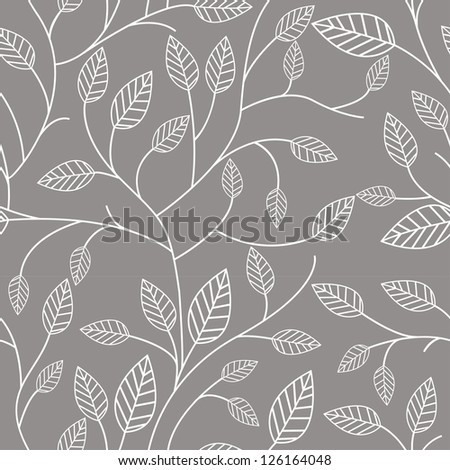 Seamless pattern with leafs - stock photo