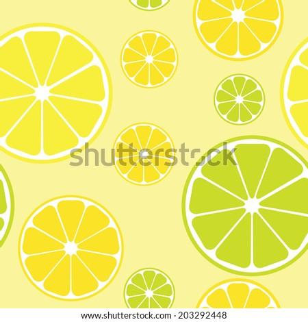 Seamless pattern with lemons yellow background. Raster version.  - stock photo