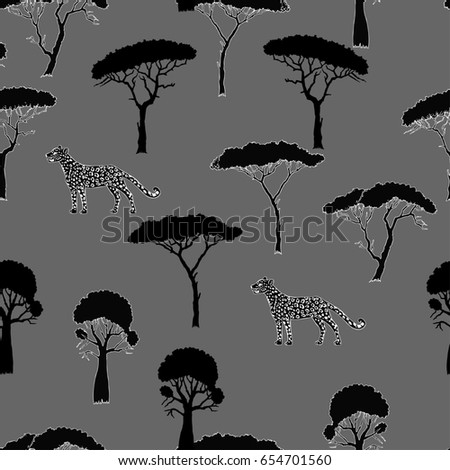 Seamless Pattern with Leopard and savanna trees. Hand drawn sketches.  Illustration