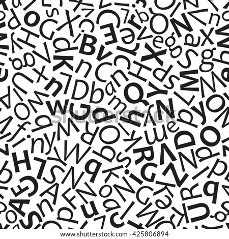 Seamless pattern with letters. Regular, bold, italic font style mix - stock photo