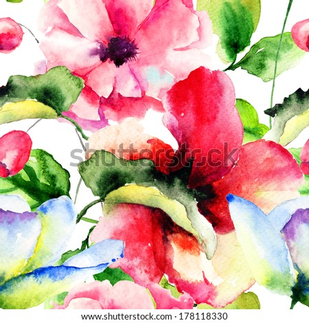 Seamless pattern with Lily and Poppy flowers, Watercolor painting
