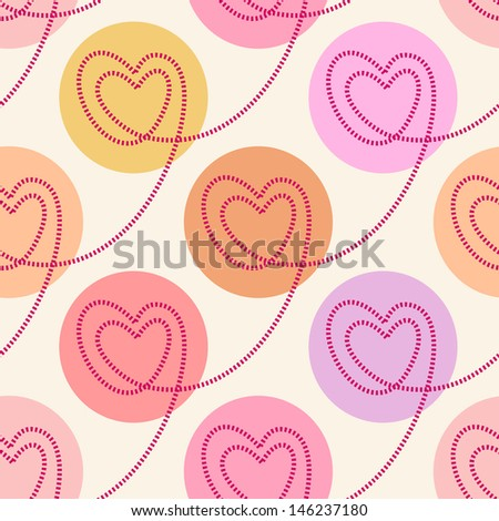 Seamless pattern with linear hearts of stitching and circles. Color polka dot background Valentine's Day, wedding. Romantic ornamental abstract cute illustration in tints of pink for web and print  - stock photo