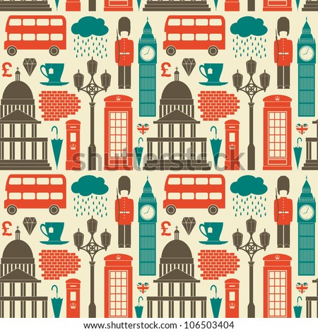 Seamless pattern with London symbols and landmarks. - stock photo