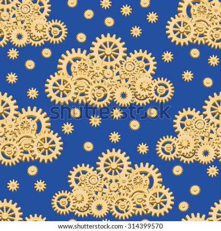 Seamless pattern with mechanical clouds made from gears with snowflakes, raindrops or stars on the night sky - stock photo