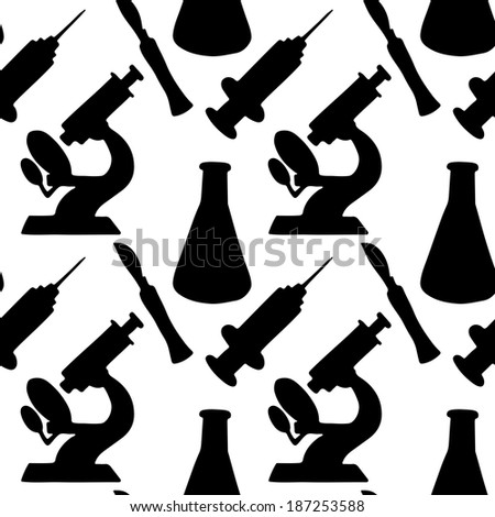 Seamless Pattern with medical instruments. Endless Print Texture. Black Silhouette. Science. Hand Drawing. Retro. Vintage Style - raster version