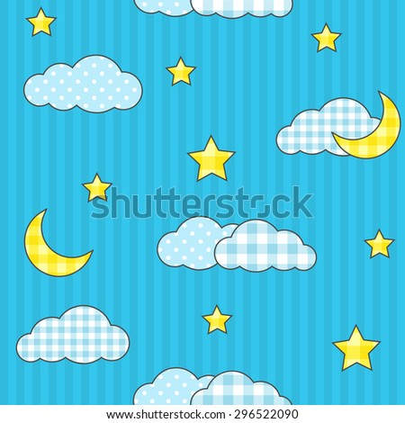Seamless pattern with moon, stars and clouds. Raster version