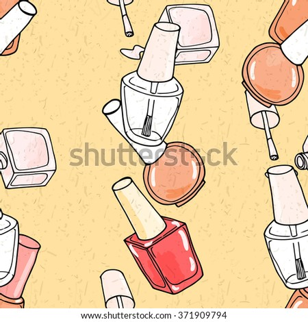 Seamless pattern with nail polish. Fashion  illustration