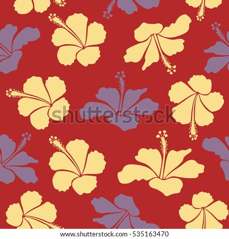 Seamless pattern with neutral, yellow and red flowers. Illustration of neutral, yellow and red hibiscus flowers.