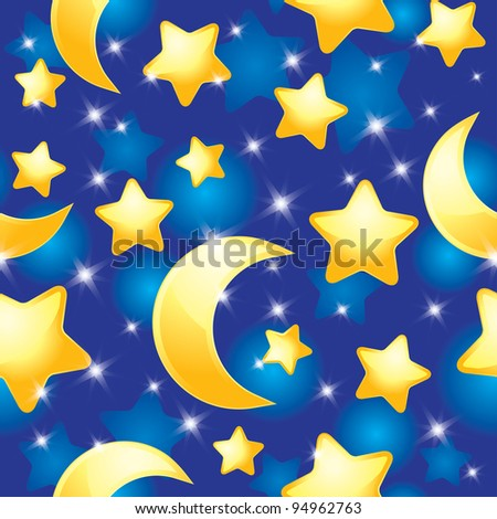 seamless pattern with night sky, stars and moons - stock photo