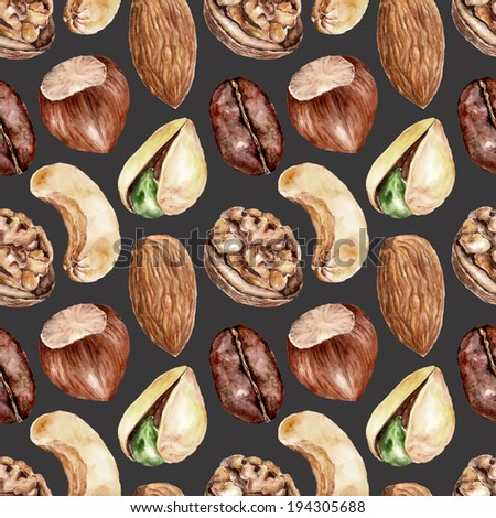 Seamless pattern with nuts
