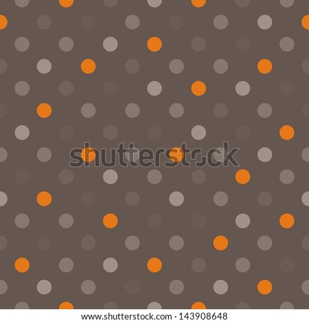 Seamless pattern with orange, beige, brown and grey colorful polka dots on a dark brown background. For website, web design, desktop wallpaper, blog background, arts and scrapbooks. - stock photo