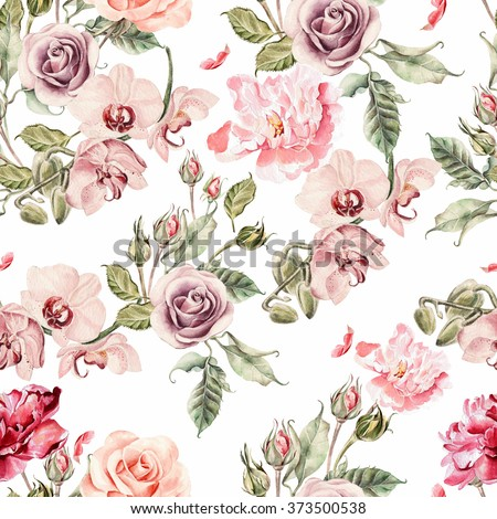 Seamless pattern with orchid flowers, roses, peony and leaves. Illustration - stock photo