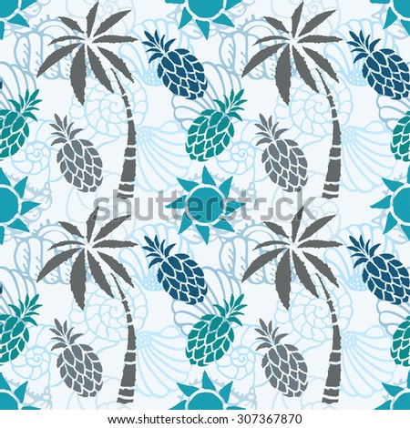Seamless pattern with palm trees, pineapples, seashells, sun. Summer print, repeating background texture, wallpaper - stock photo