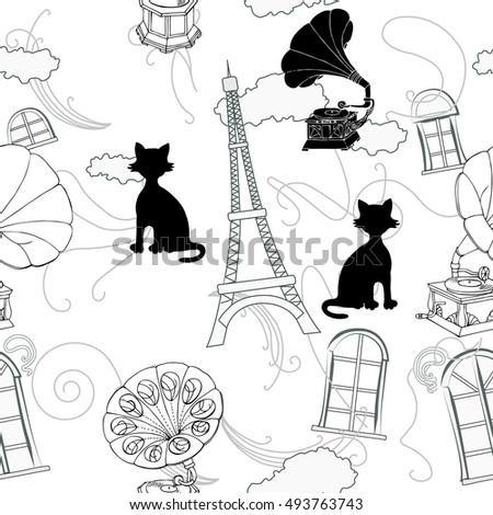Seamless pattern with  Paris and gramophones. Hand drawn sketches old record players.  music illustration