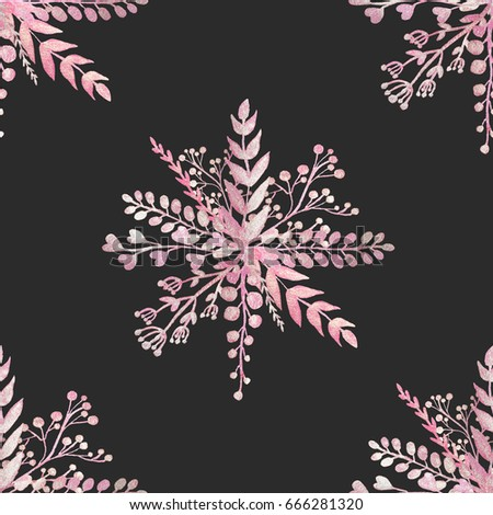 Seamless pattern with pearl pink branches and leaves on black background