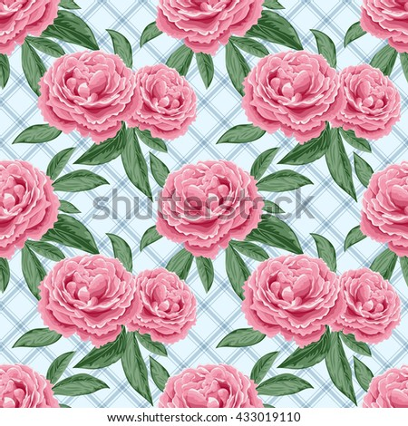 Seamless pattern with peonies and leaves. Illustration in retro style.
