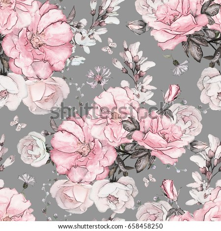 Seamless pattern pink flowers leaves on stock illustration 658458250 seamless pattern with pink flowers and leaves on gray background watercolor floral pattern flower mightylinksfo